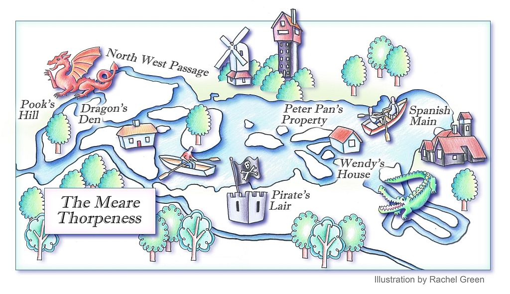 illustrated Peter Pan map of Thorpeness Meare Suffolk by Rachel Green at Xtrahead