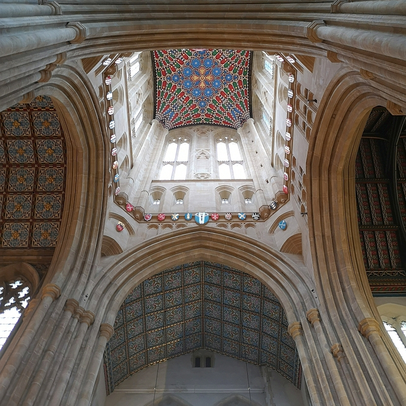 Looking inside St Edmundsbury Cathedral lantern tower