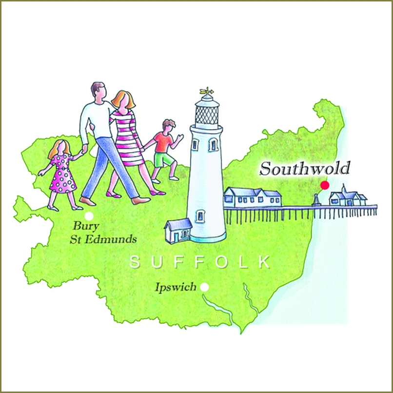 Illustrated map Southwold Suffolk by Rachel Green Xtrahead